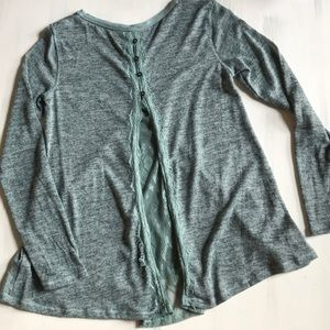 Xhilaration green tee button down lace back